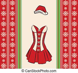 Christmas underlinen on ornament background.