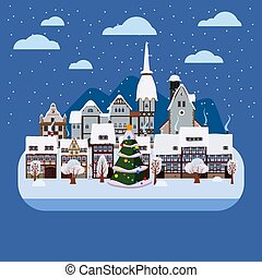 Christmas urban night winter city street with old town houses and trees. Landscape with Christmas tree. Vector illustration isolated flat cartoon style