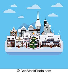 Christmas urban winter city street with old town houses and trees. Landscape with Christmas tree. Vector illustration isolated flat cartoon style
