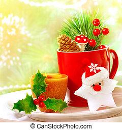 Christmas utensil set - Border of Christmastime utensil set,...