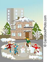 Christmas vacation fun to play snow