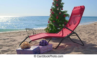 Christmas vacation time on beach resort background