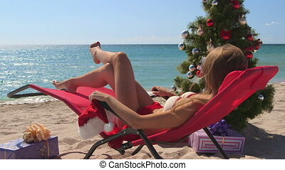 Christmas vacation time on tropical beach resort