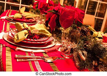 christmas vacsora, asztal