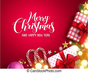 Christmas vector background banner with bright blurred lights