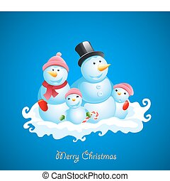 Christmas vector background. Happy snowman