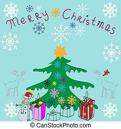 Christmas vector background, illustration c Christmas tree