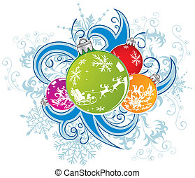 Christmas vector background with baubles - Abstract...