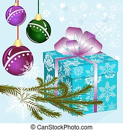 Christmas vector background with blue gift box.