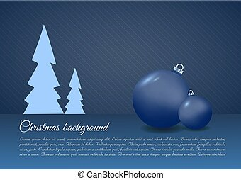 Christmas vector background with christmas ball in blue color