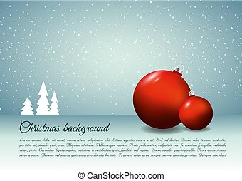 Christmas vector background with christmas ball in red color