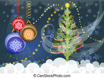 Christmas vector background with Christmas tree and color baubles.
