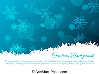 Christmas vector background with snowflakes in blue color