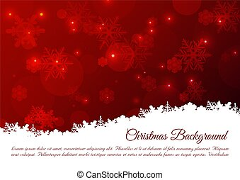 Christmas vector background with snowflakes in red color