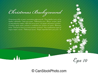 Christmas vector background with tree from snowflakes in green color