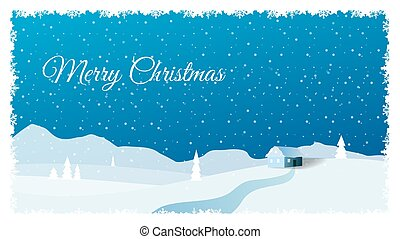 Christmas vector background with tree silhouette and cottage in blue color