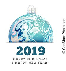 Christmas vector ball in the style of Marble Ink. 2019 Happy New Year
