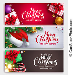 Christmas vector banner design set with colorful backgrounds
