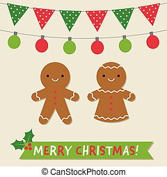 Christmas vector card with gingerbread cookies and decoration