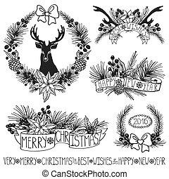 Christmas decor.Branches,puansetiya,ribbons.Black - Merry...