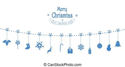 Christmas Vector Composition. Garland of Holiday Icons. For Greeting Card.