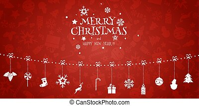 Christmas Vector Composition. Garland of Holiday Icons on Red Background.