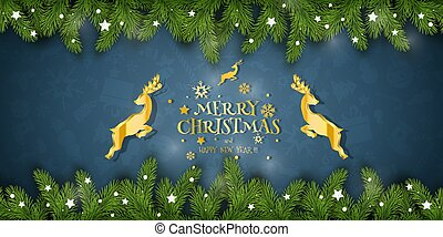 Christmas Vector Composition. Holiday Wishes on Blue Background.