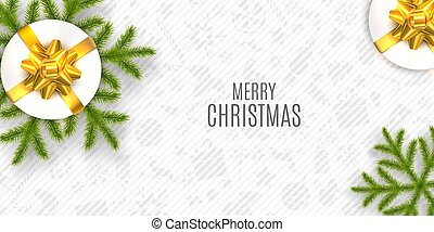 Christmas Vector Composition. Holiday Wishes on White Background.