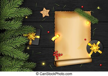Christmas Vector Composition on Dark Wooden Background. For Greeting Card.