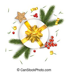 Christmas Vector Composition on White Background. For Greeting Card.