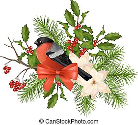 Christmas vector decorative composition. Bird bullfinch, ...