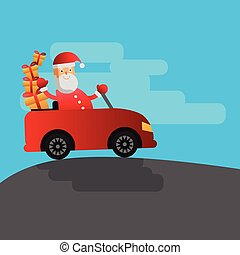 Christmas vector flat illustration with santa riding the car