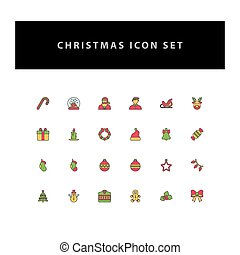 Christmas vector icon set with filled outline style design