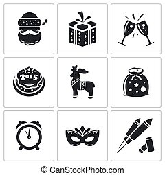 Christmas Vector Icons Set - New Year Vector Isolated Flat ...