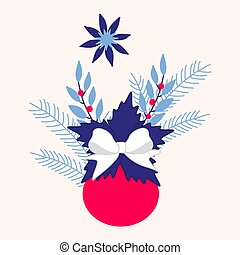 Christmas vector illustration with blue flowers