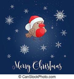 Christmas vector illustration with bullfinch. Vector illustration.