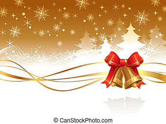 Christmas vector illustration with golden hand bells