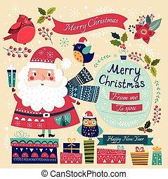 Santa Claus, birds and gifts
