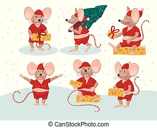 Christmas vector mouse set. Cartoon ret illustration. Holiday and New Year animal collection. Funny icons.
