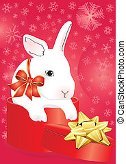 rabbit with ribbon