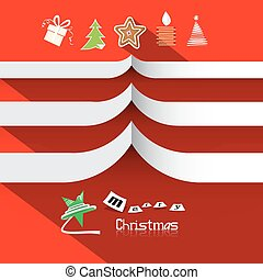 Christmas Vector Paper Symbols on Red Background with Paper Tree