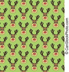 Christmas Vector Seamless Pattern with Deers Faces in Doodle Style