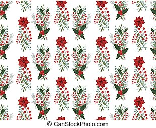 Christmas vector seamless pattern with hand drawn illustration isolated on white