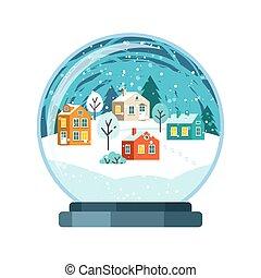 Christmas vector snow globe with small houses