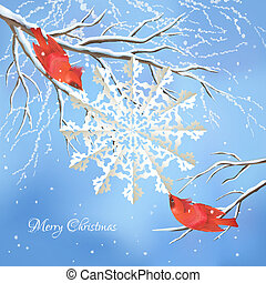 Christmas vector snowflake, birds, tree background