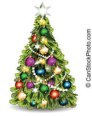 Christmas vector tree against whit - Vector illustration for...