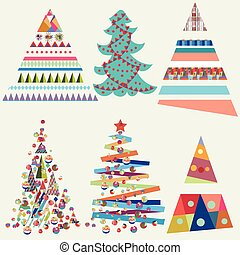 Christmas vector trees in colorful funky colors