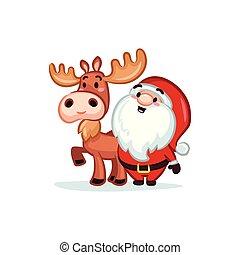 Christmas Vectors - Santa and Moose