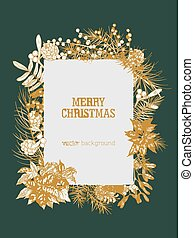 Christmas vertical background decorated by branches and cones of coniferous trees, berries and leaves of winter holiday plants hand drawn with contour lines. Realistic natural vector illustration.