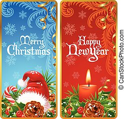 Christmas vertical banners set
